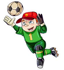 Cartoon boy keeping the goal safe