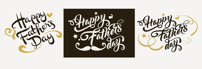 Happy Fathers day. Lettering design. Hand lettering calligraphy handwriting. Vector image