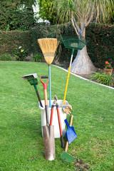 Gardening tools on grass