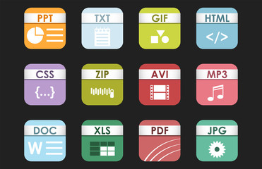 Simple square file types formats labels icon set presentation document symbol and audio extension graphic multimedia sign vector illustration.