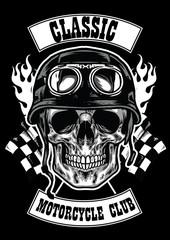 motorcycle club badge with skull wearing helmet