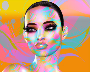 Colorful pop art image of a woman's face. This is a digital art image of a close up woman's face in pop art style.