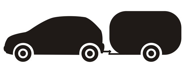 car and trailer, caravan, black silhouette, vector icon,