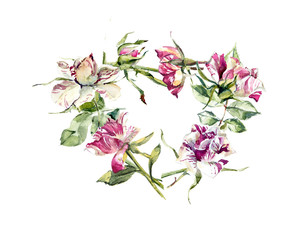 Frame from roses. Wedding drawings. Greeting cards. Flower backdrop. Place for your text. Watercolor hand drawn illustration