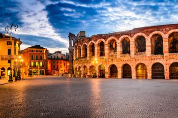 Piazza Bra and Arena, Verona amphitheatre in Italy