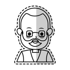 middle age man with beard cute cartoon icon image vector illustration design