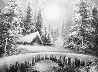 texture oil painting, impressionism  winter landscape