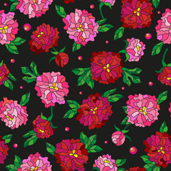 Seamless pattern with spring flowers in stained glass style, flowers, buds and leaves of  peonies on a dark background