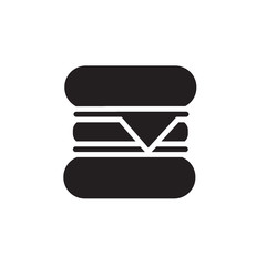 Vector icon or illustration showing hamburger in one color