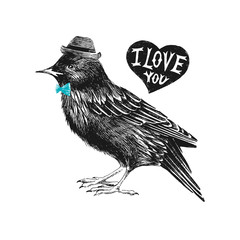 Valentines day card with starling and heart