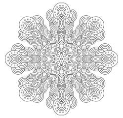 Uncolored symmetrical snowflake. Eight corned mandala.
