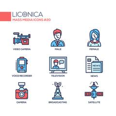 Mass Media - coloured modern single line icons set
