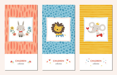Vector set of trendy hand drawn seamless patterns and kid's design elements with bunny, lion, elephant and flowers.