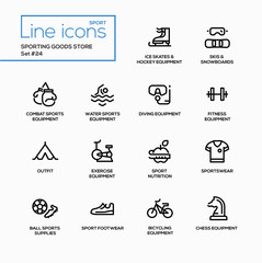 Sporting goods store - modern vector single line icons set