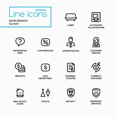 Bank branch - modern vector single line icons set.