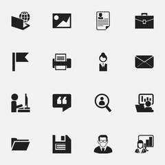 Set Of 16 Editable Bureau Icons. Includes Symbols Such As Publicity, Portfolio, Globe And More. Can Be Used For Web, Mobile, UI And Infographic Design.
