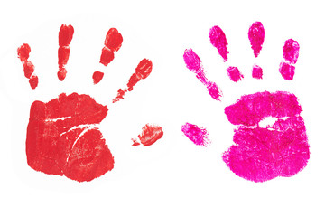 Handprints by children isolated on a white background