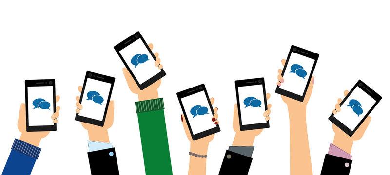 Personen zeigen - Smartphones mit Sprechblasen
