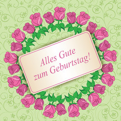 Alles gute zum Geburtstag - Happy birthday - light green floral background with roses