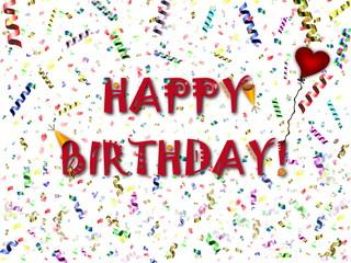 """праздничный фон с разноцветным конфетти, шариками и сердцем """"С днем рождения"""""""