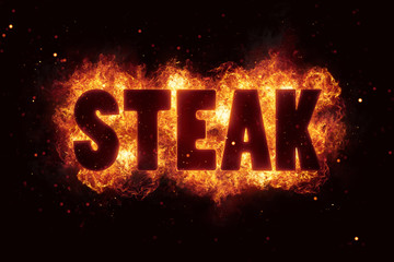 steak bbq grill Party text on fire flames explosion
