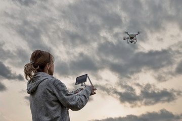 Raise a drones cloudy sky
