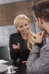 Closeup businesswoman talking