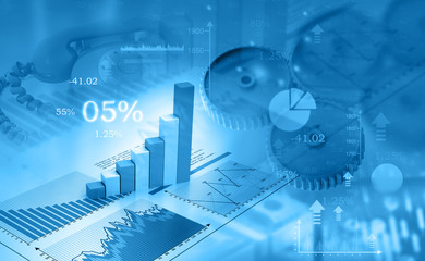 Business graph and charts. 3d illustration