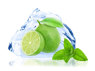 Lime with leaf isolated on white background