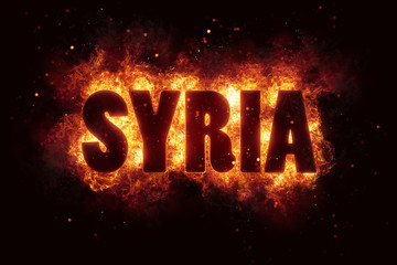 syria war text on fire flames explosion burning