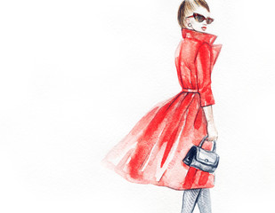 Fototapete - Woman in coat. Street fashion style. Hand drawing illustration. Watercolor painting