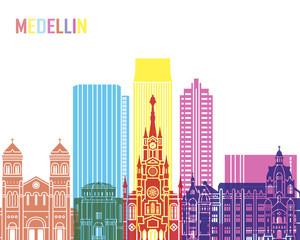 Fototapete - Medellin skyline pop