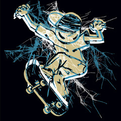 Vector illustration of skater. Freestyle contest t-shirt print
