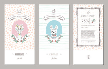 Trendy hand drawn packaging design with seamless patterns. Vector illustrations with reindeers and floral wreaths.
