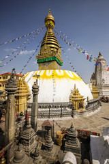 Stupa Swayambhunath with prayer flags, Kathmandu Valley, Nepal