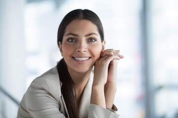 Charming Business Lady With Hands Clasped