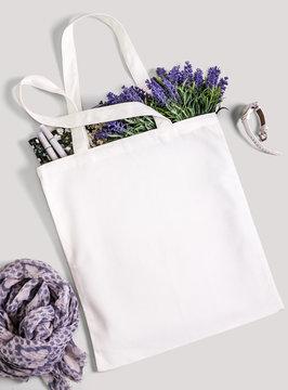 White blank cotton eco tote bag, design mockup.