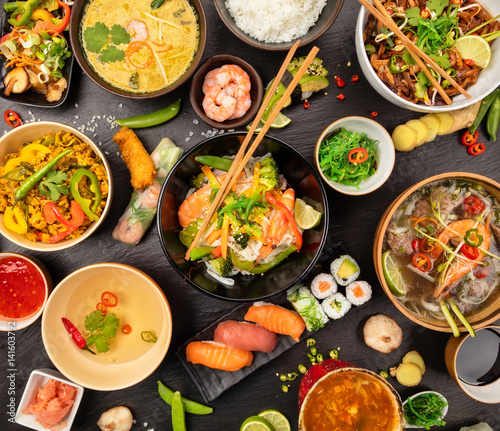 "Chinese Restaurent: ""Asian Food Table With Various Kind Of Chinese Food"" Stock"