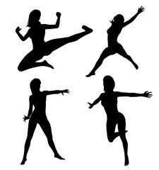 Woman makes gym exercise. Vector silhouette. Vector images set (collection)
