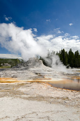 geyser and lakes in Yellowstone national Park