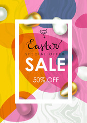 Easter sale vector illustration. Realistic festive eggs and sketch drawing spring birds. Flayer, voucher or coupon template. Gold and Marble texture.