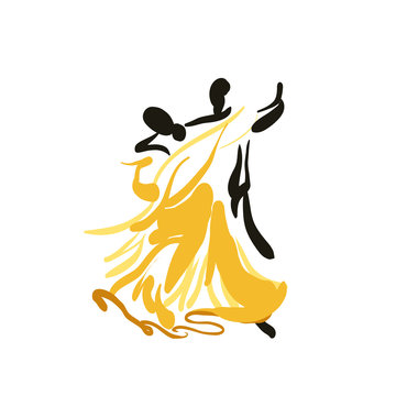 Sketch of a dancing couple.Vector.