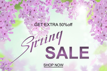 Advertisement about the spring sale on defocused background with beautiful lilac blossom. Vector illustration.