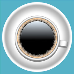 icon cup with black coffee with foam on plate isolated.