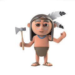 3d Funny cartoon Native American Indian boy character waves hello