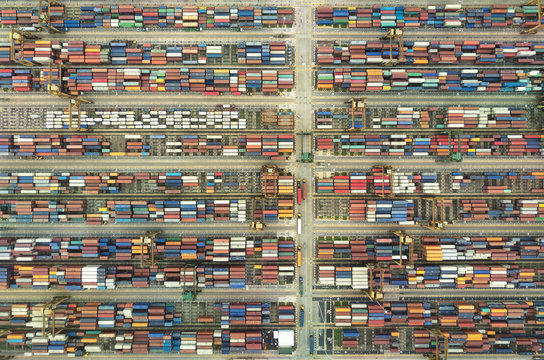Shipping containers from overhead international trade logistics
