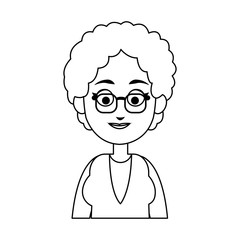Old woman cartoon icon over white background. vector illustration