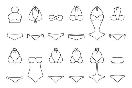 Vector illustration of women's swimsuit outline design set. Fashion bikini collection. Female stylish swimwear silhouettes isolated. Flat beach clothing underwear.