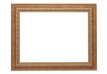 Vintage photo frame isolated on white background.