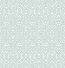 Geometric repeating light blue ornament with hexagonal dotted white elements. Seamless abstract modern pattern